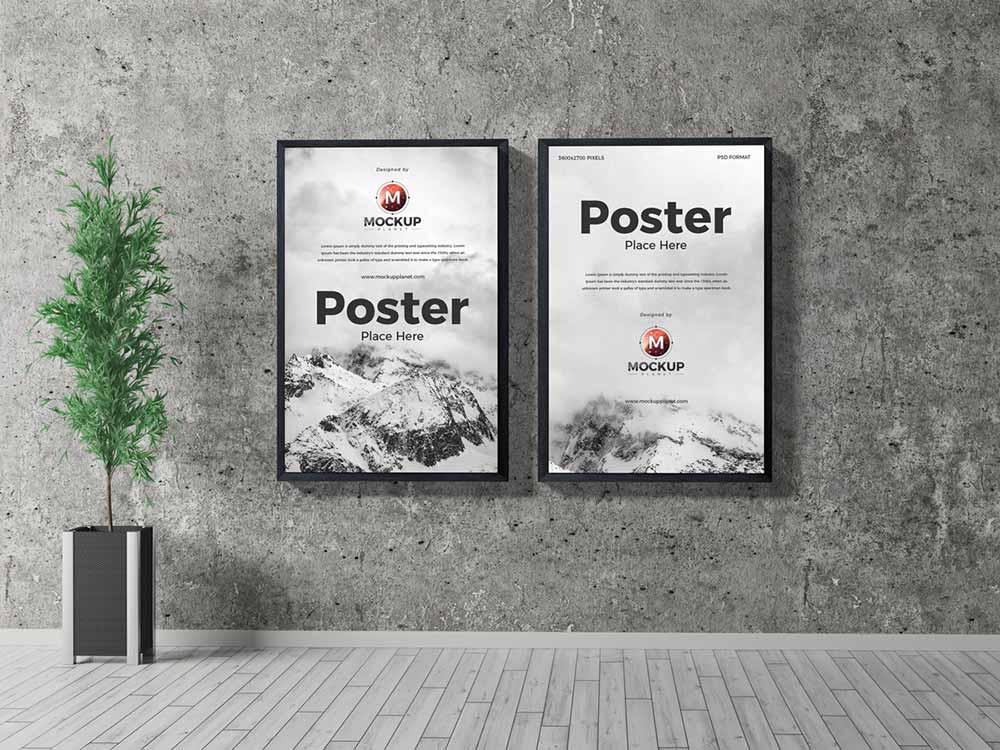 Free Indoor Frame Poster Mockup Mockuptree
