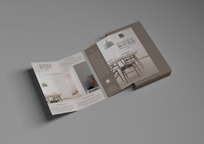 Free Brand Bi-Fold Brochure Mockup