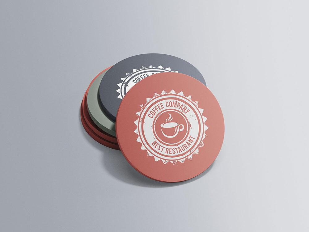 Free Circular Coaster Mockup