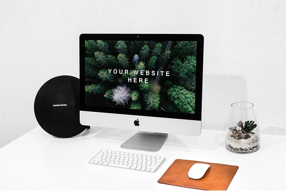 Free Workspace iMac Mockup