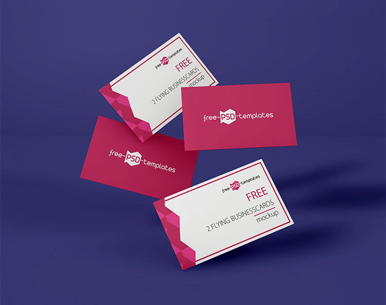 Free Flying Business Card Mockup