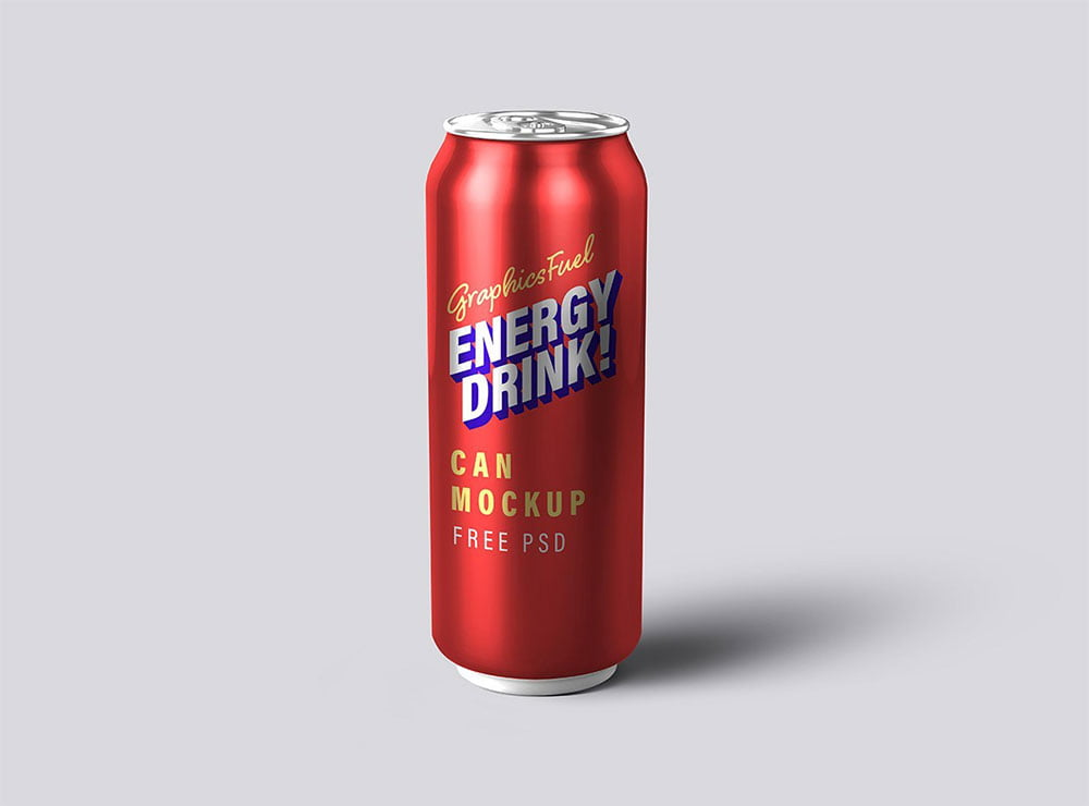 Free Energy Drink Can Mockup
