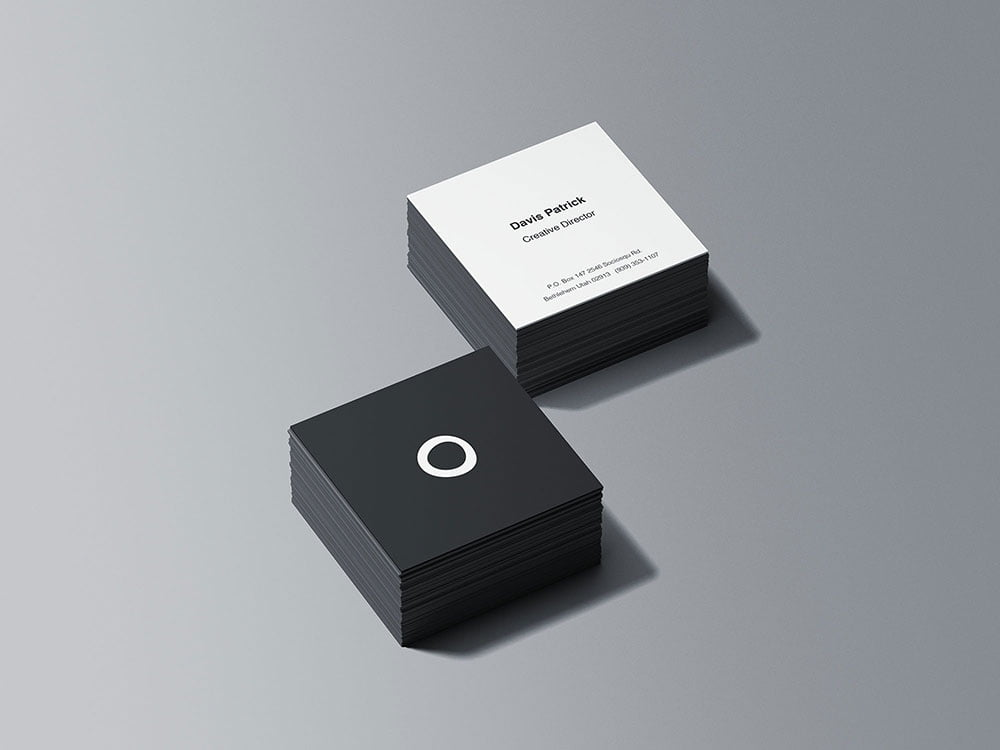 Free Stacks Square Business Card Mockup