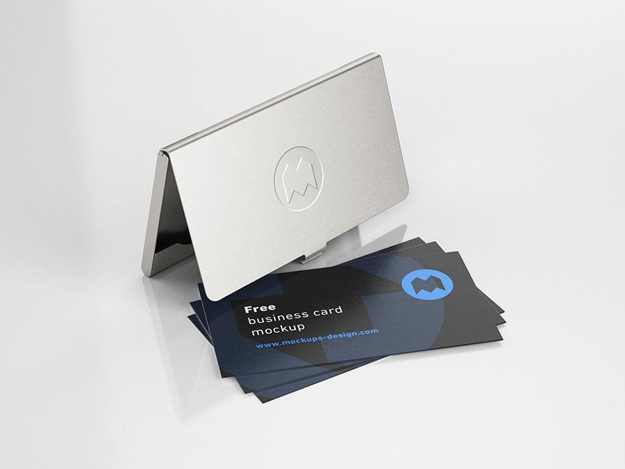 Free Holder Business Card Mockup