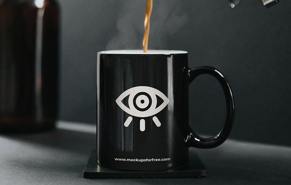 free black coffee cup mockup