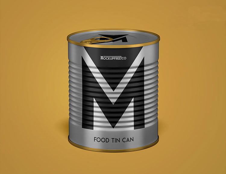 Free Food Tin Can Mockup