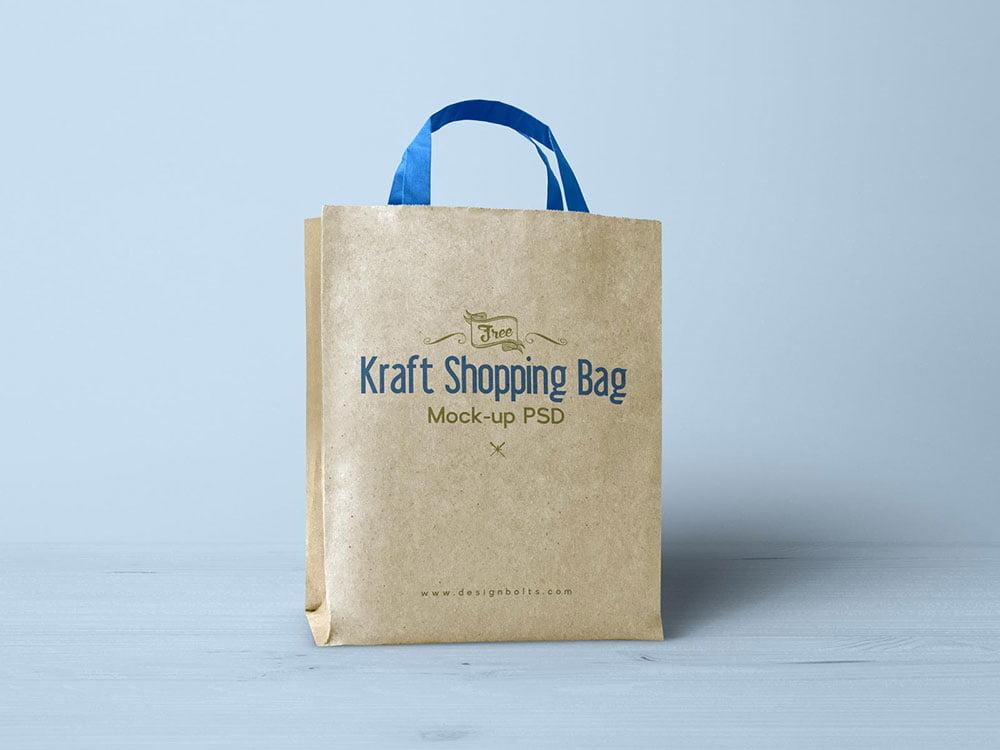 Free Kraft Paper Shopping Bag Mockup