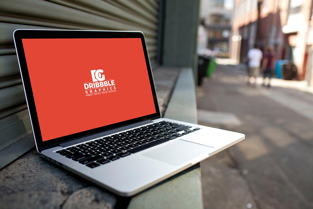 Free Street Laptop Mockup