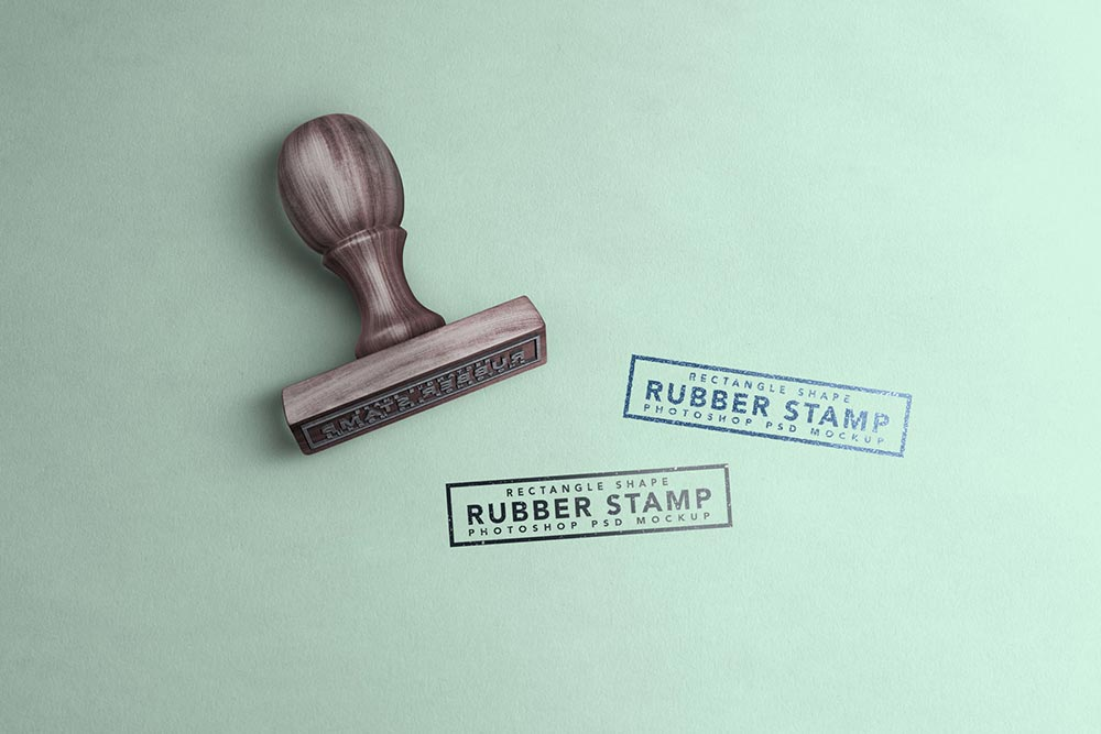 Free Wooden Rubber Stamp Mockup