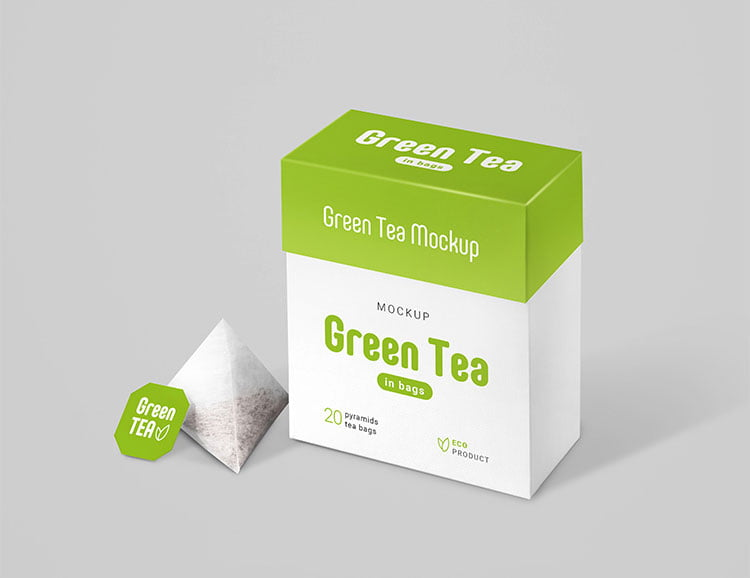 Free Tea Bags Package Mockup