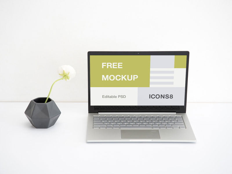 Free Workspace Laptop Mockup