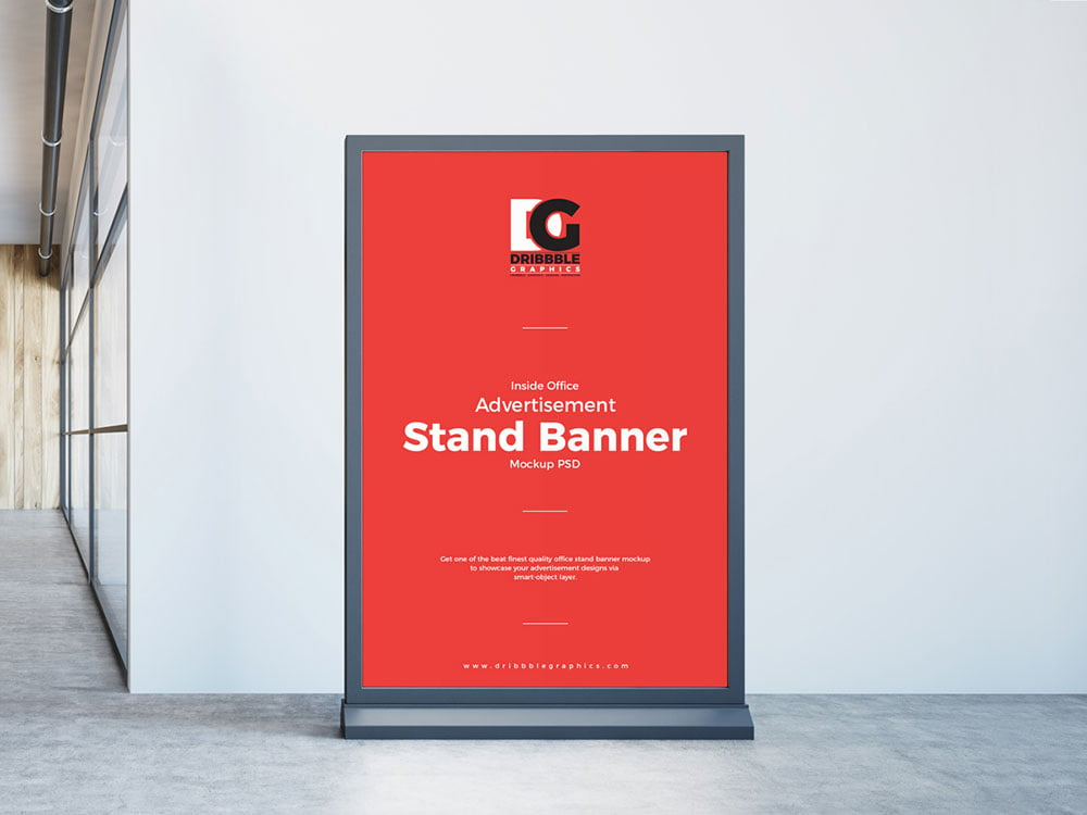 Free Inside Office Stand Banner Mockup