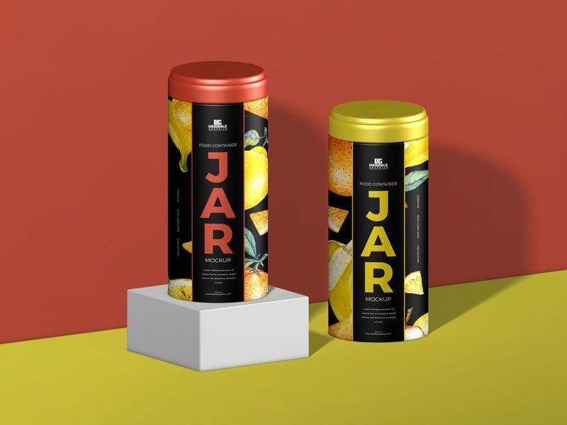 Free Food Container Jar Mockup