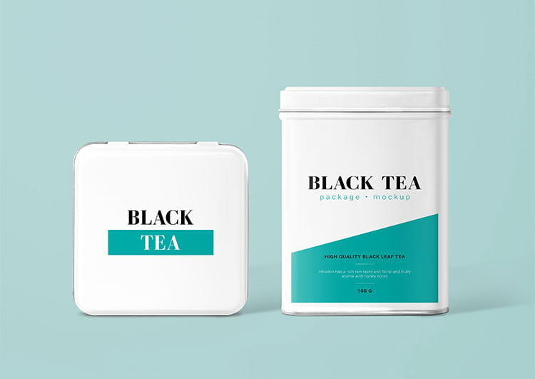 Free Tea Can Package Mockup
