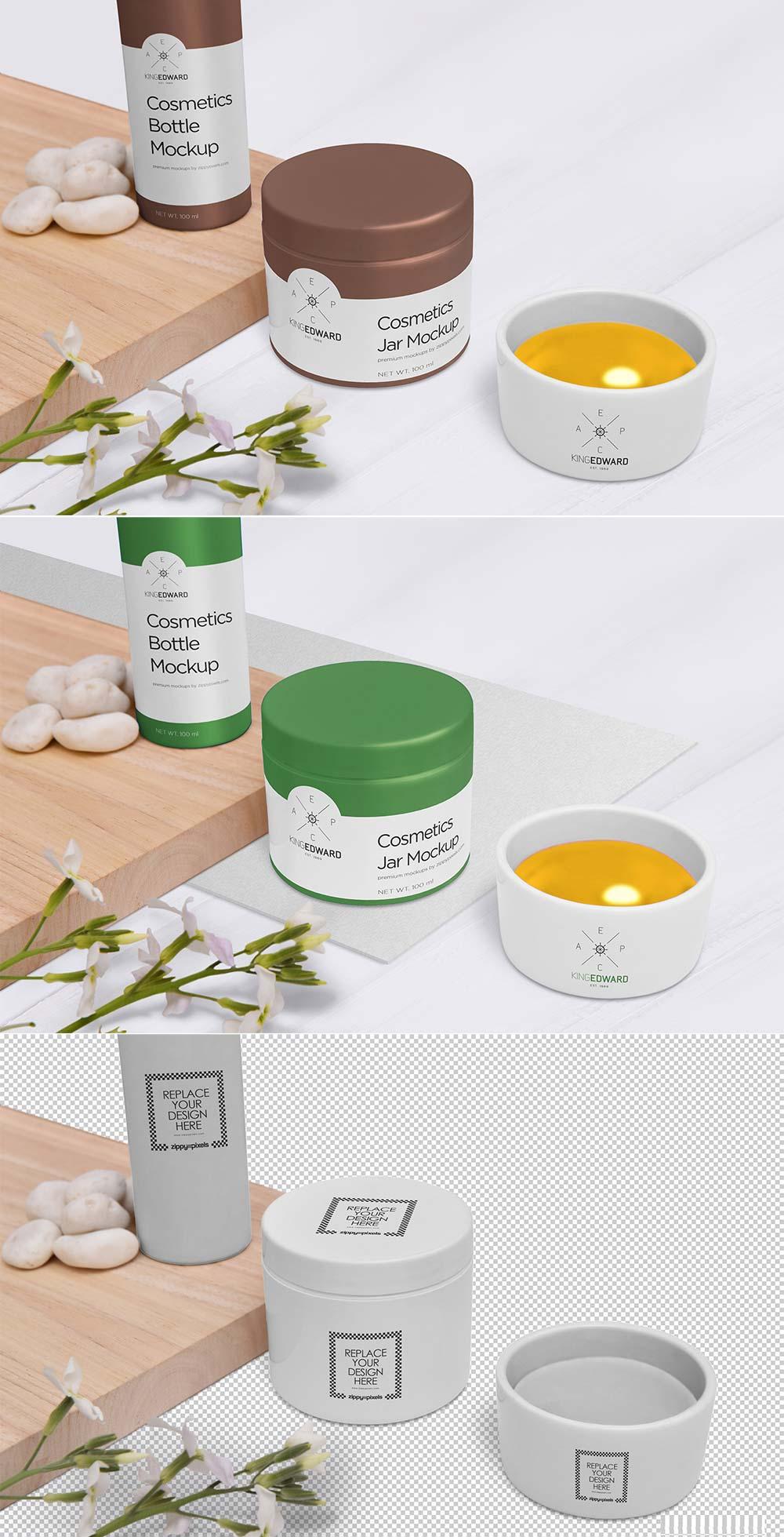 Free Cosmetic Jar Bottle Mockup