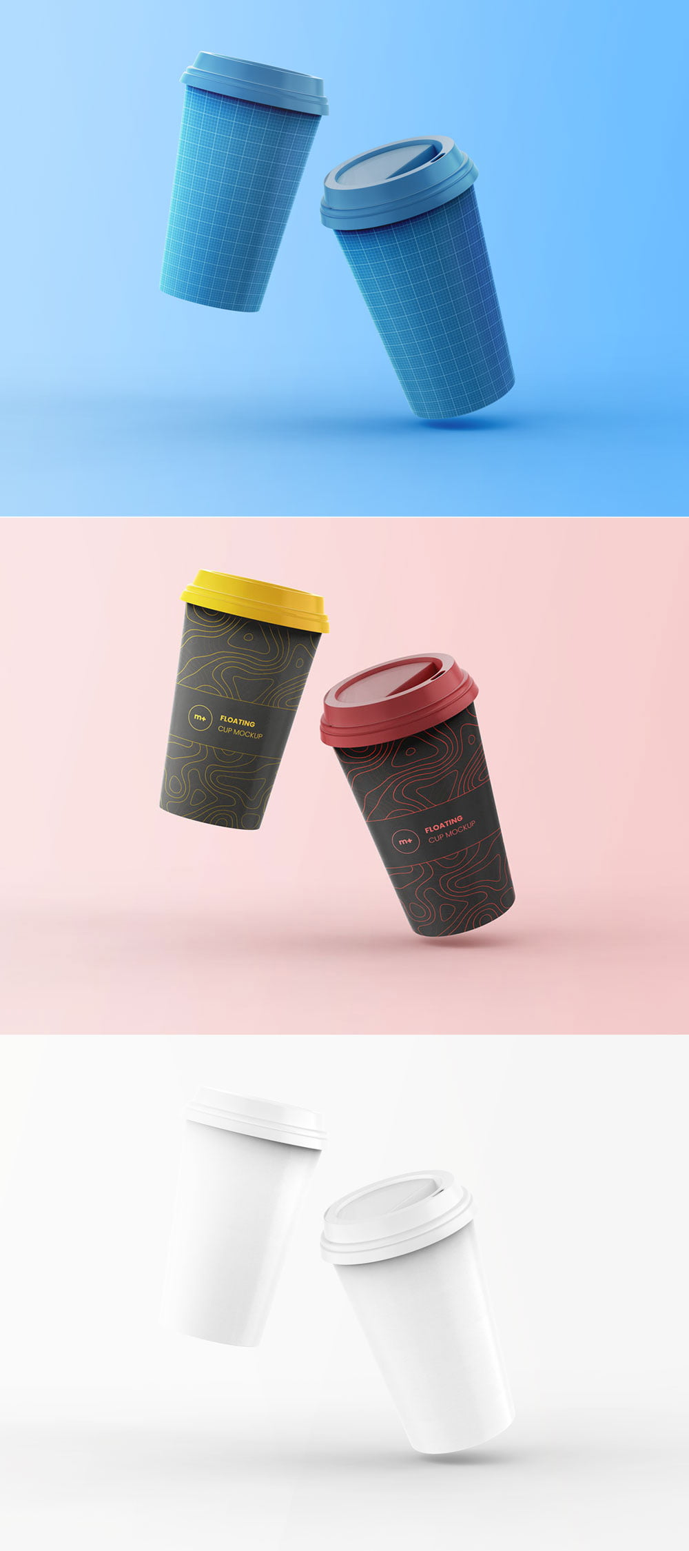 Free Floating Coffee Cup Mockup