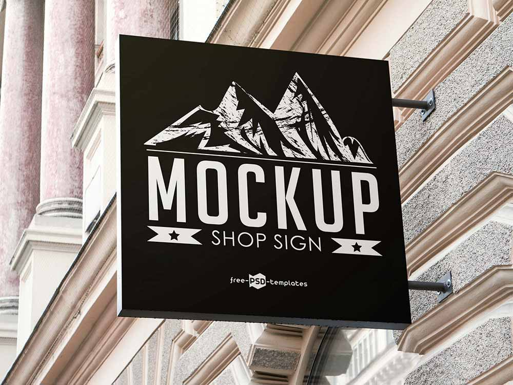 Free Square Shop Sign Mockup
