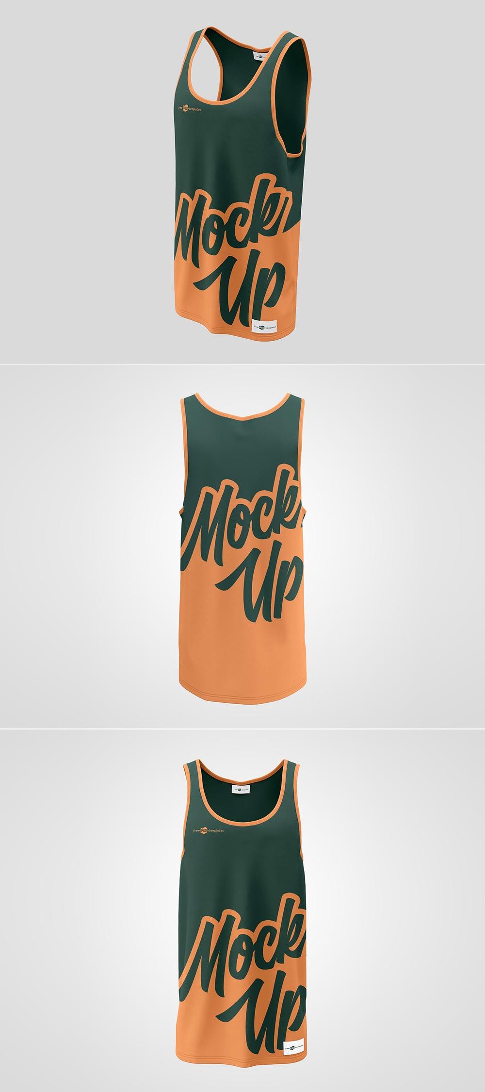 Free Tank Top Long T-Shirt Mockup