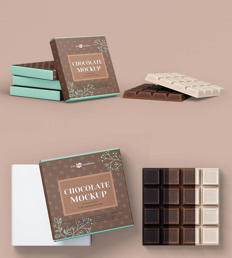 Free Chocolate Bar Packaging Mockup