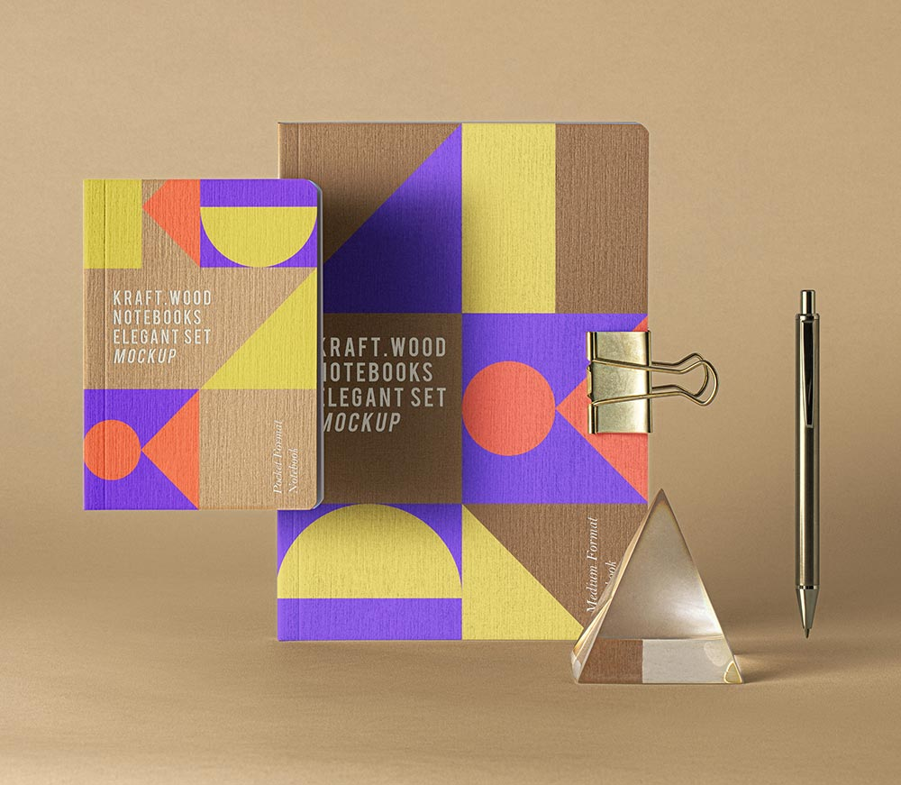 Free Kraft Notebook Mockup