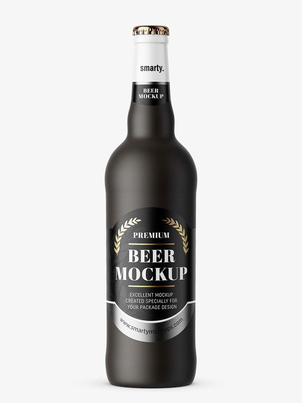 Free Matte Beer Bottle Mockup