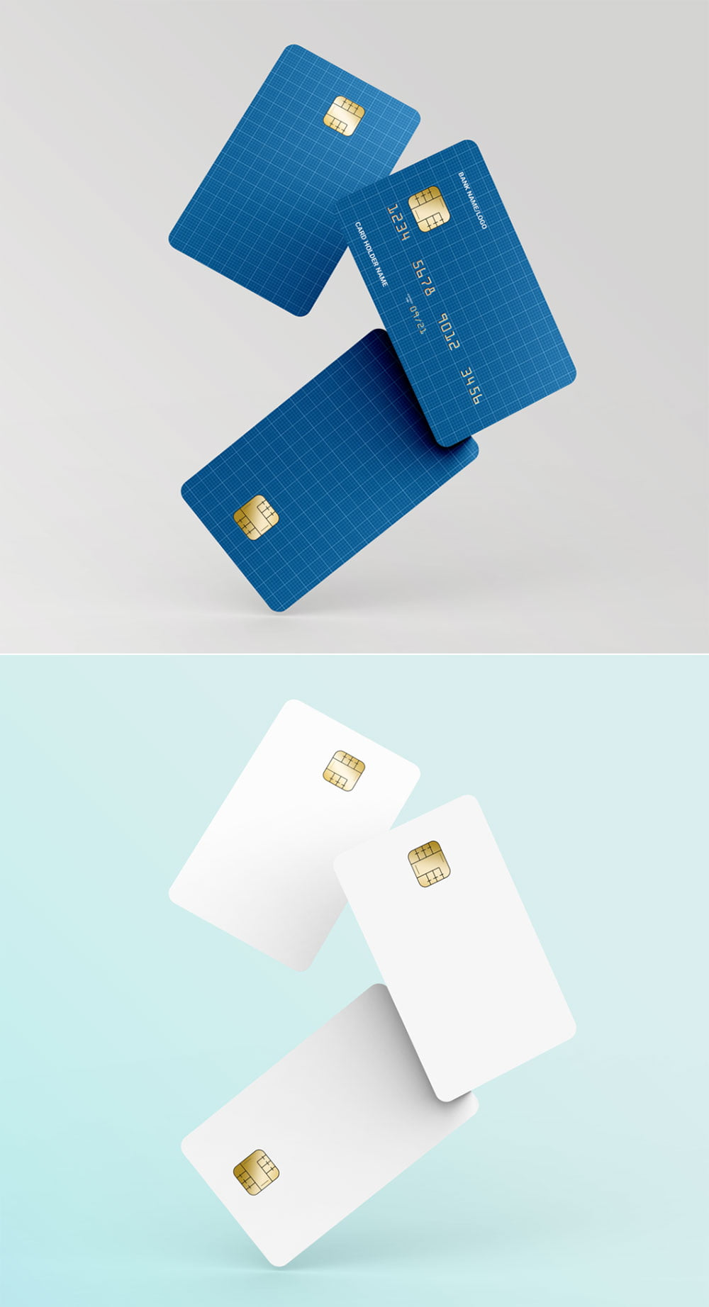 Free Floating Credit Card Mockup Mockuptree
