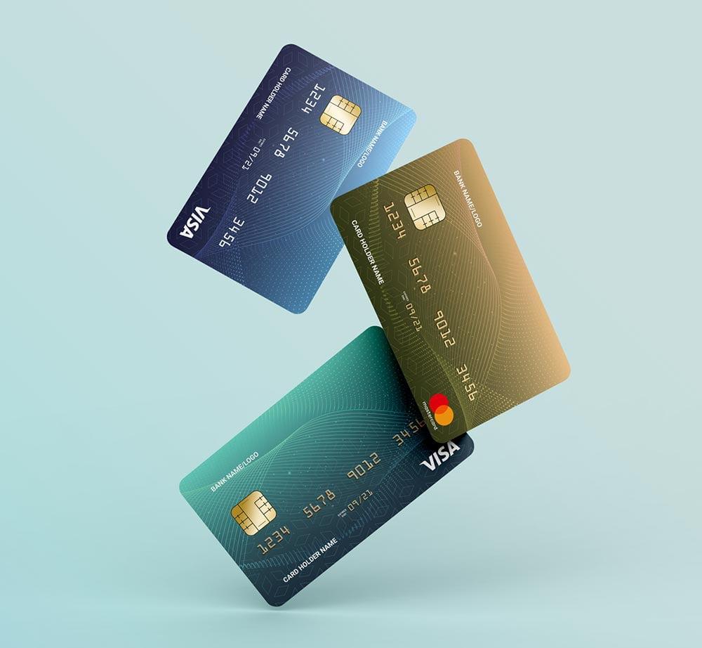Free Floating Credit Card Mockup