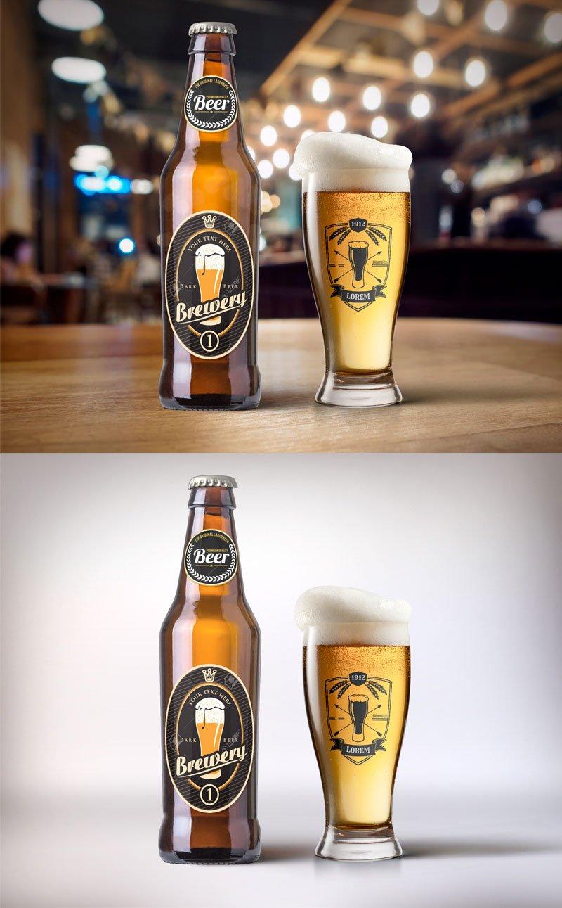 Free Beer Bottle & Glass Mockup