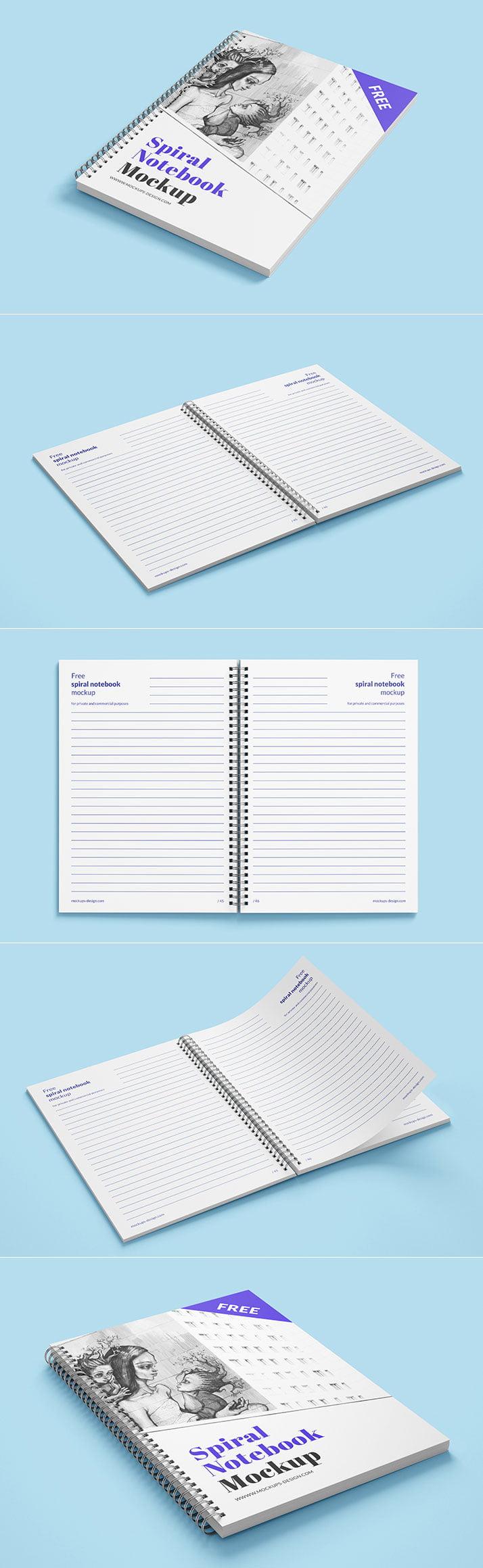 Free Spiral Notebook Mockups