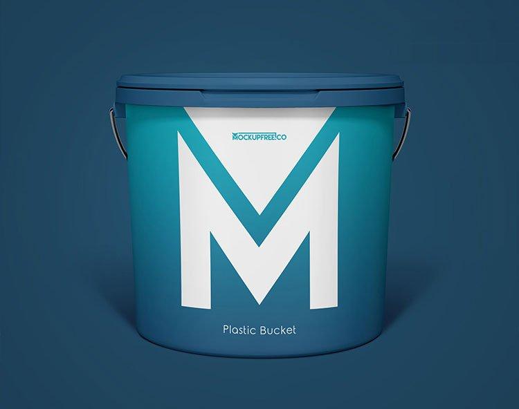 Free Plastic Paint Bucket Mockup