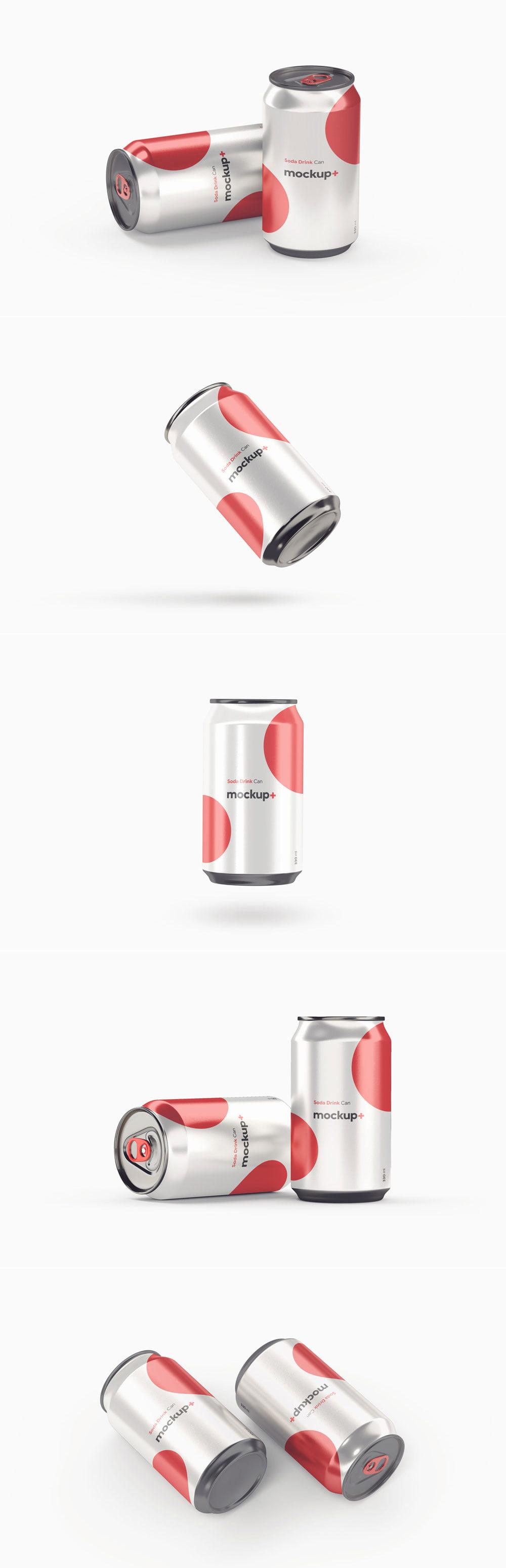 Free Soda Drink Can Mockup