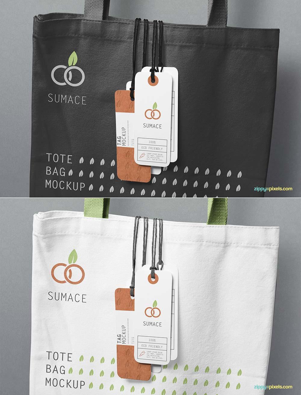 Free Hanging Tags Bag Mockup