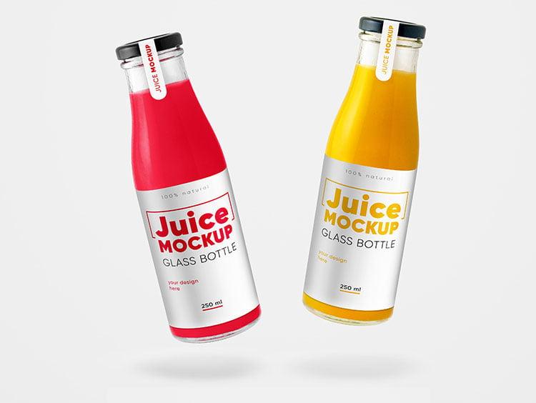 Free Glass Juice Bottle Mockup