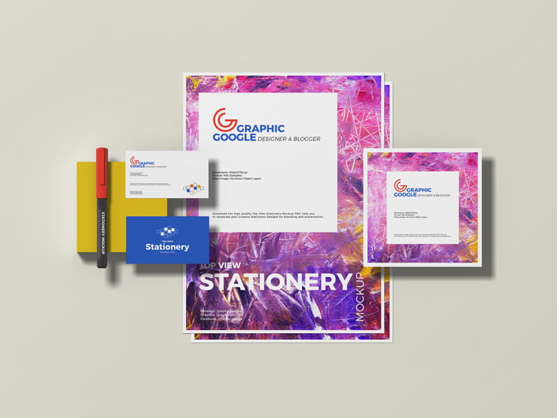 Free Top View Stationery Mockup