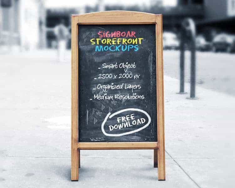 Free Signboard Chalkboard Mockup