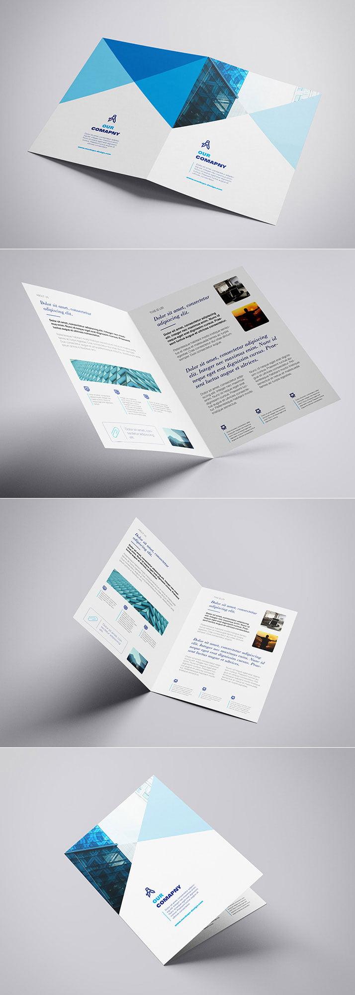 Free A4 Bifold Brochure Mockup PSD