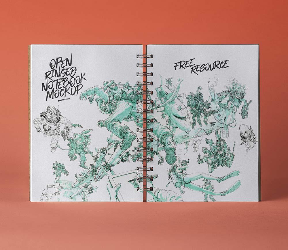 Free Open Ringed Sketchbook Mockup