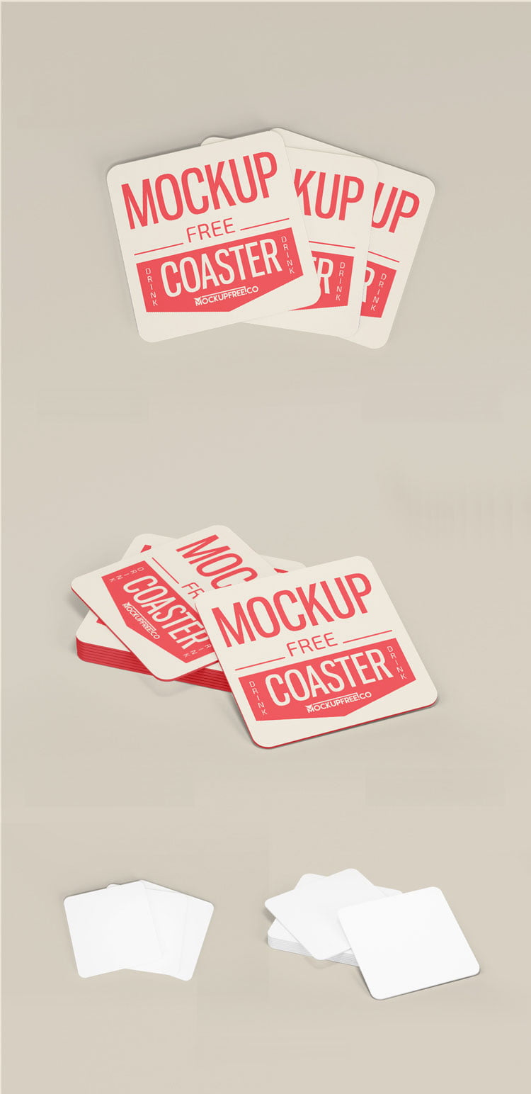 Free Paper Drink Coaster Mockup