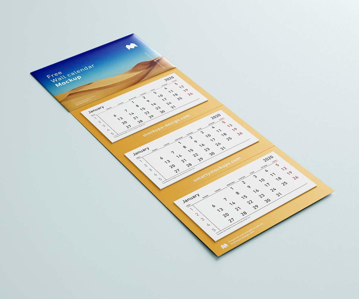 Free Panel Wall Calendar Mockup