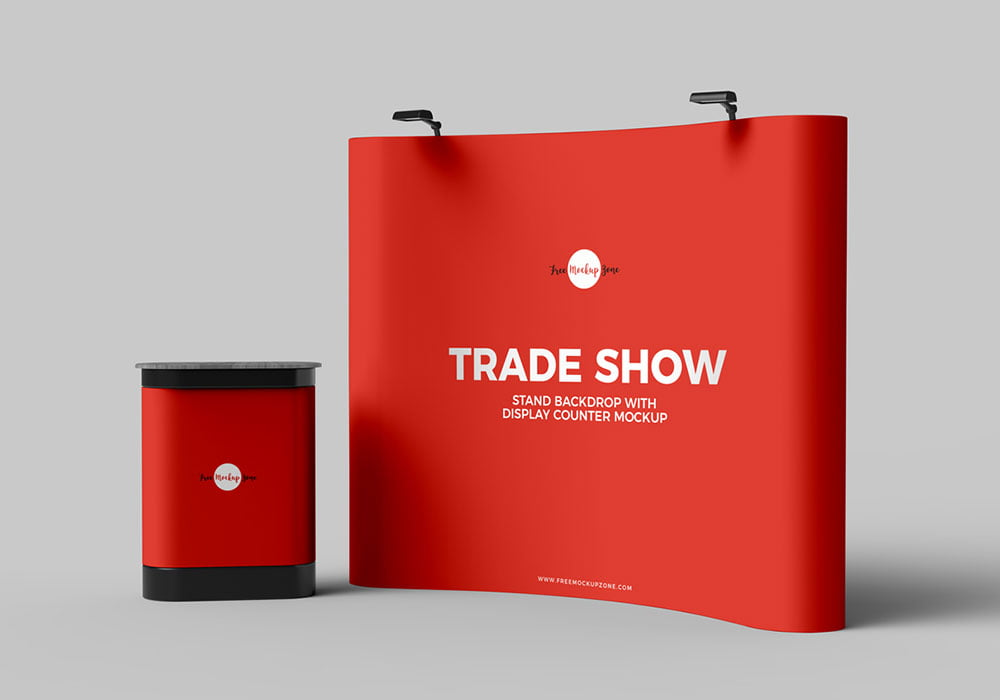 Free Trade Show Banner Stand Mockup