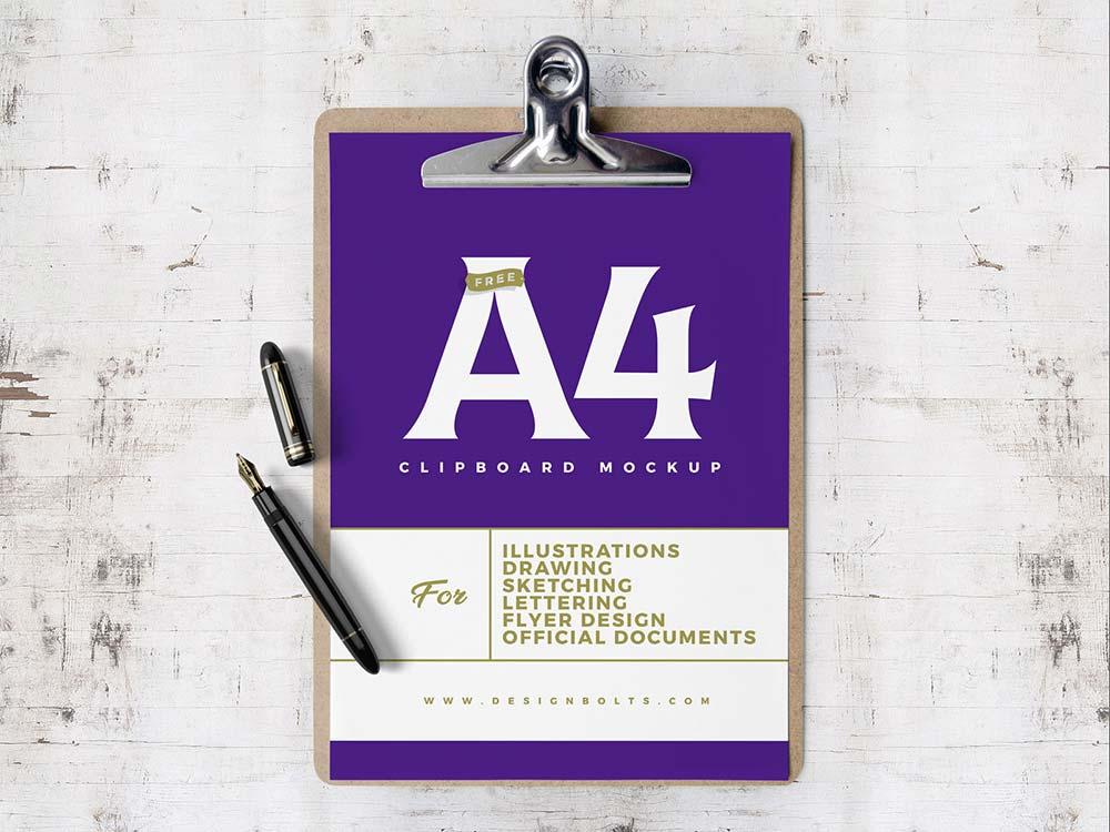 Free A4 Clipboard Mockup