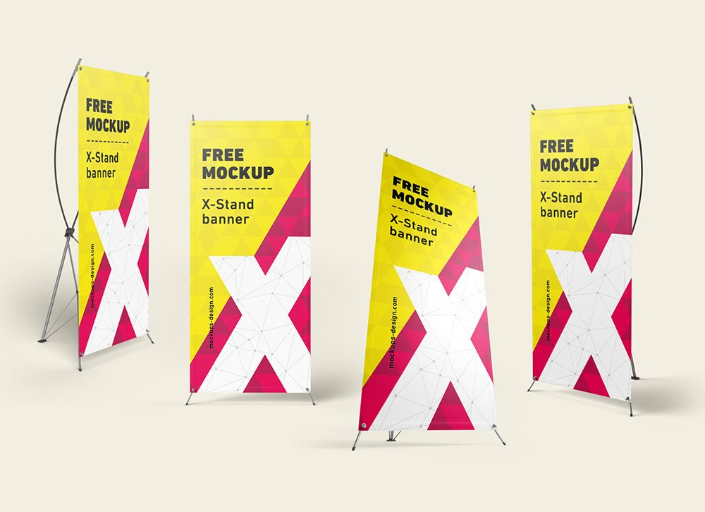Free X-Stand Banners Mockup