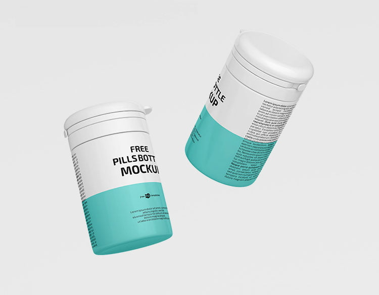 Free Floating Pill Bottle Mockup