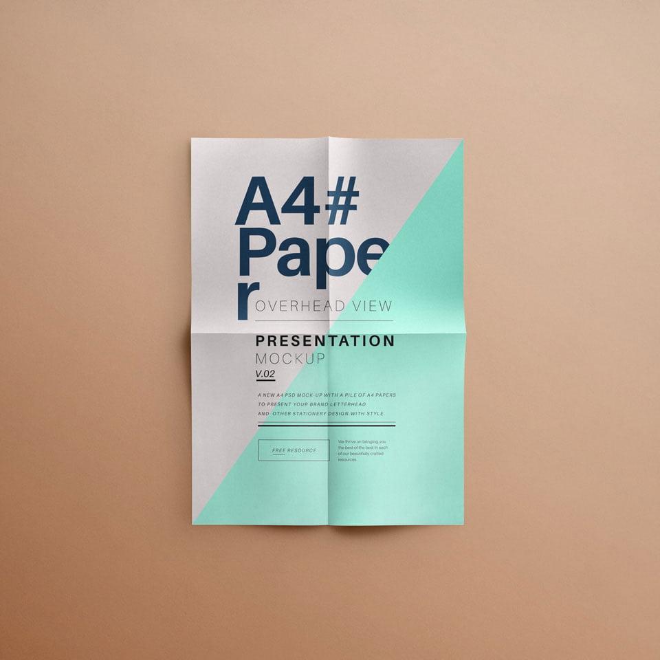 Free A4 Folded Paper Mockup