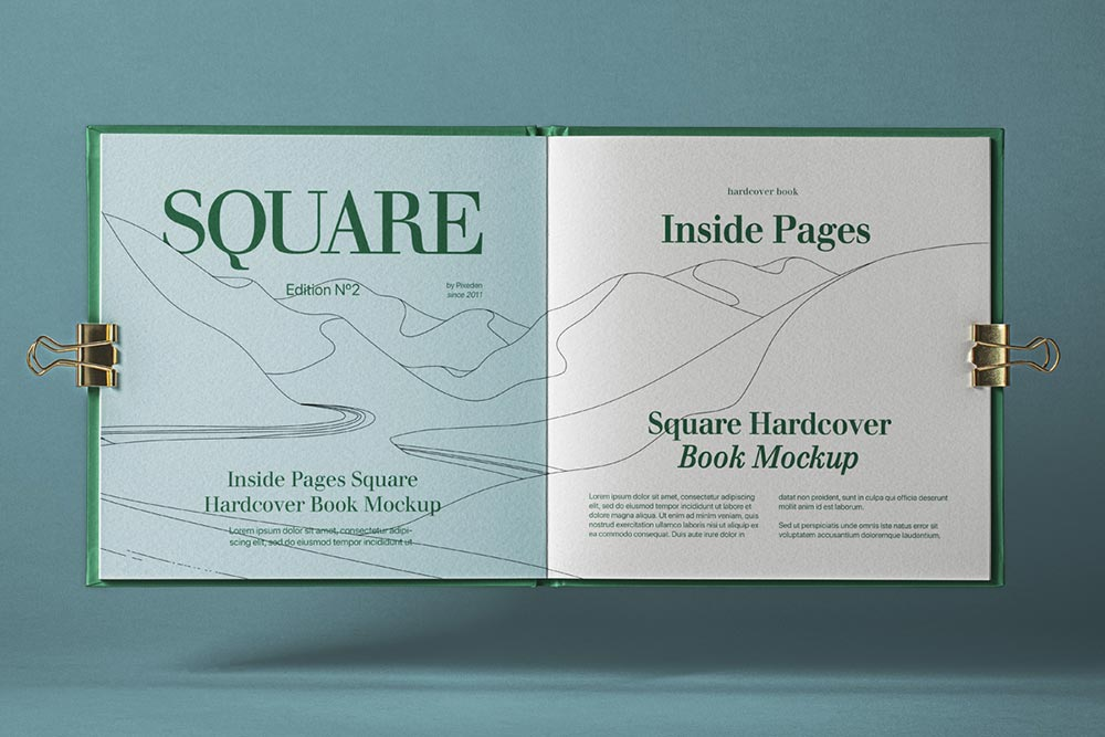 Free Open Square Catalog Mockup