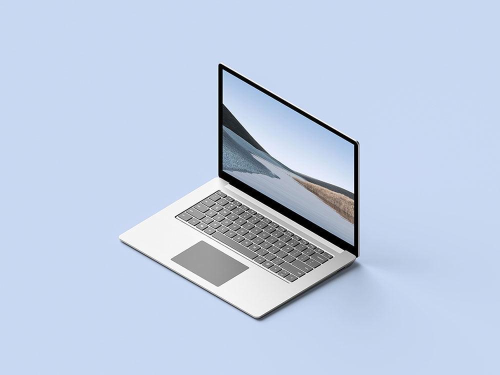 Free Isometric Surface Laptop Mockup