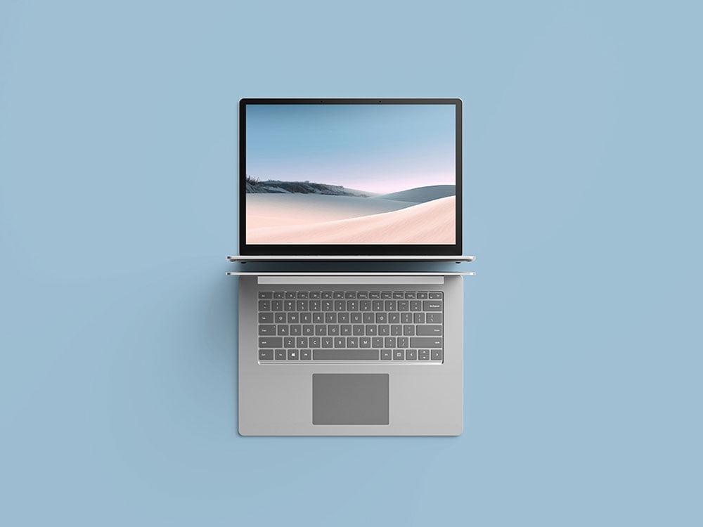 Free Top View Surface Laptop Mockup