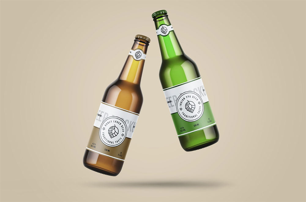 Free Levitating Beer Bottle Mockup