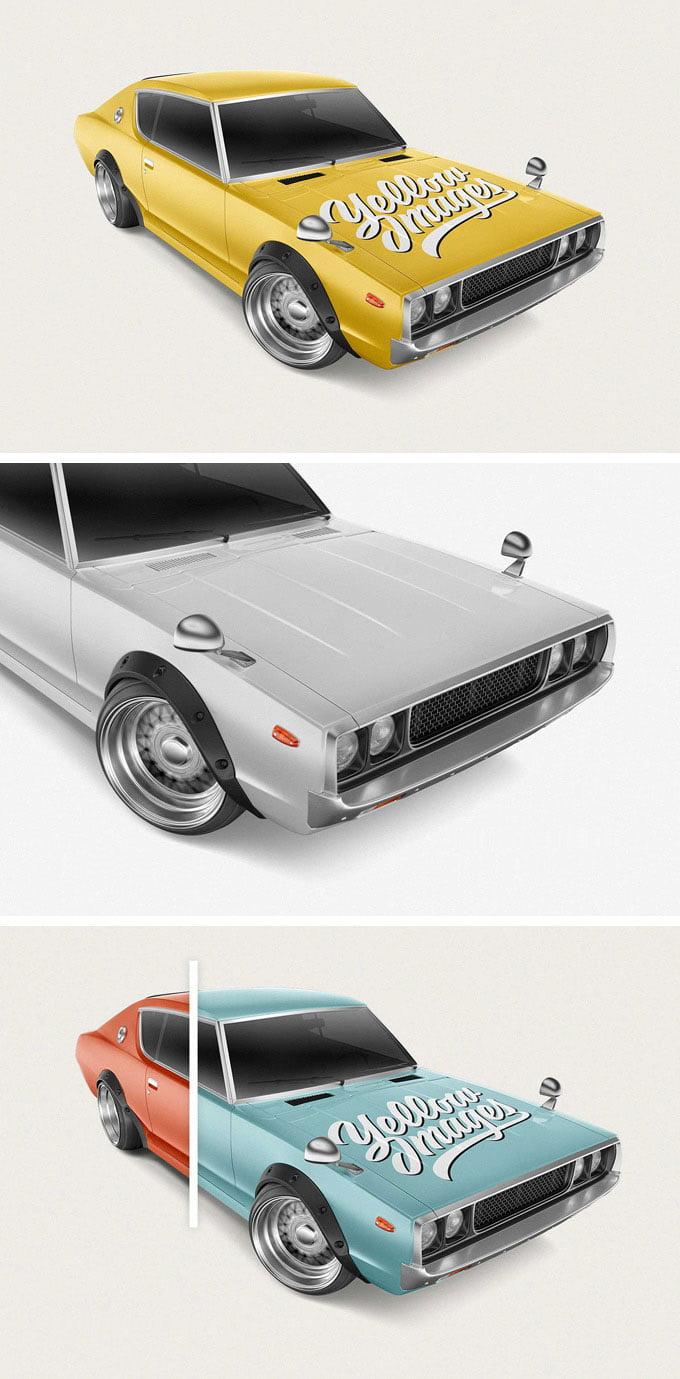 Download Free Retro Sport Car Mockup Mockuptree PSD Mockup Templates