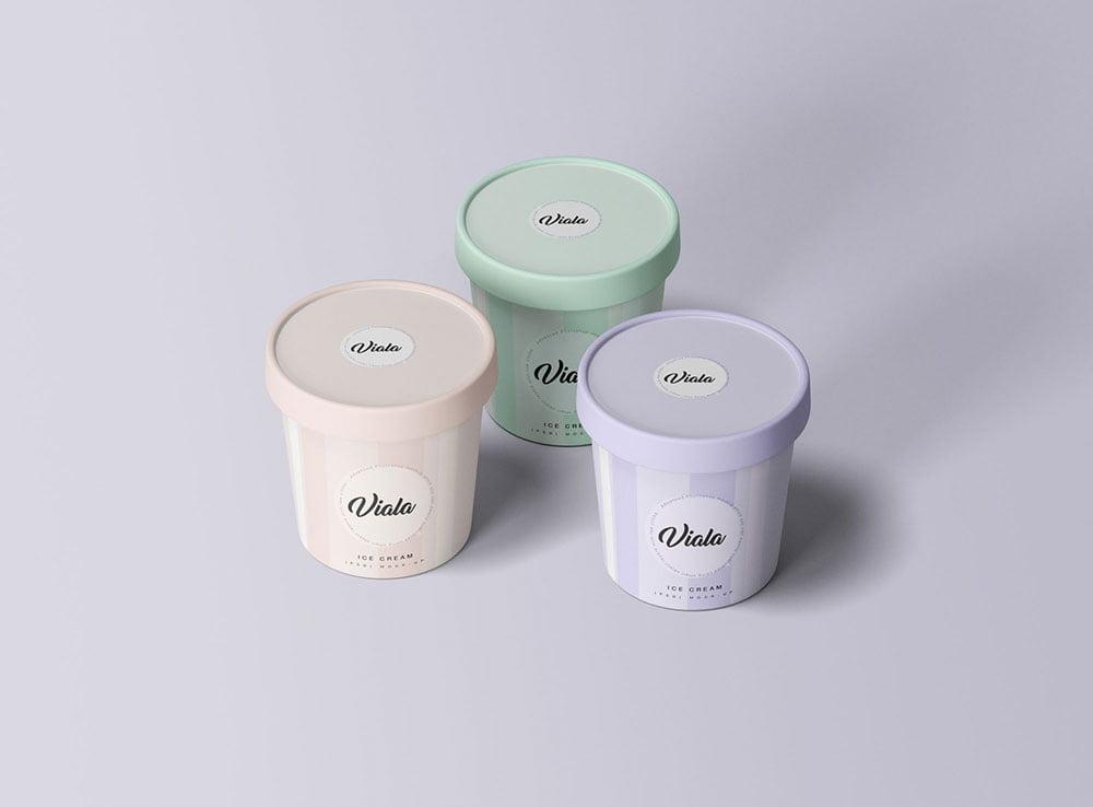 Free Ice Cream Cups Mockup